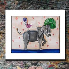 Children Themed Print of Flamingo and Elephant by MCRomagueraArt, $39.00