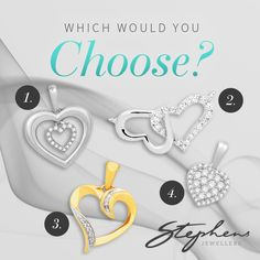 Any of these heart pendants will make the perfect gift for any occasion! Which would you choose? #Stephensjewellers #Jewellery #Gold #Rings #Aquamarine http://stephensjewellers.com.au/