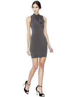 ALICE AND OLIVIA MARY FITTED DRESS WITH NECK TIE - CHARCOAL. #aliceandolivia #cloth #