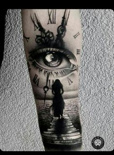 Our Website is the greatest collection of tattoos designs and artists. Find Inspirations for your next Clock Tattoo. Search for more Tattoos. Half Sleeve Tattoos For Guys, Best Sleeve Tattoos, Leg Tattoos, Body Art Tattoos, Girl Tattoos, Skull Sleeve Tattoos, Tattoo Forearm, Realistic Tattoo Sleeve, Tatoos