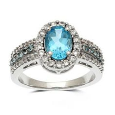 Oval Blue Topaz and Lab-Created White Sapphire Frame Ring in 10K White Gold - View All Jewelry - Gordon's Jewelers