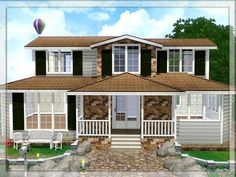 This house is for your sim-families. It has 2 bedrooms (Adult/Kids), a bathroom and a study room on the upstairs. There is a living room, a kitchen and a bathroom on the downstairs. I furnished...