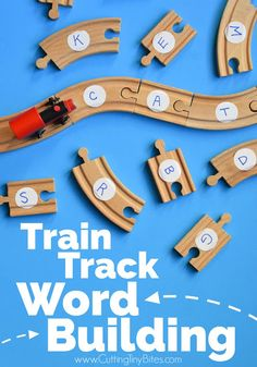 Train Track Word Building- Fun and easy literacy activity inspired by the book Old Tracks New Tricks. Great preschool or kindergarten activity for teaching sight words, phonics, or CVC words to beginning readers. Transportation Activities, Train Activities, Letter Activities, Reading Activities, Activities For Kids, Preschool Letters, Teaching Reading, Trains Preschool, Fun Phonics Activities