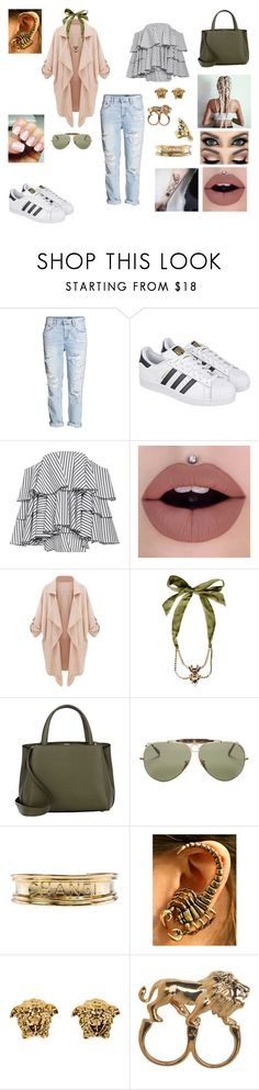"""""""&"""" by ohbabyimrachel ❤ liked on Polyvore featuring adidas, Caroline Constas, Dsquared2, Valextra, Ray-Ban, Chanel, Versace, Stussy and Yves Saint Laurent"""