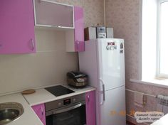 Розовая кухня 5 кв.м. в современном стиле за 1600 у.е. (5 фото)