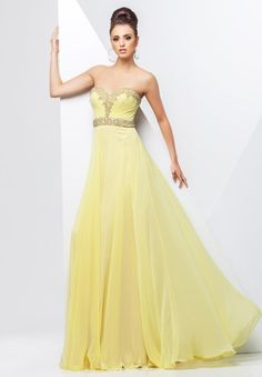 Delightful A Line Sweetheart Beaded Full Length Chiffon Yellow Evening Gowns 2015