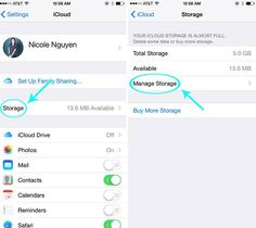 Next, select Storage, then Manage Storage.