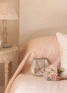 Ophelia bedspread, pretty pink peachy perfection. A wonderful bedroom decor look!