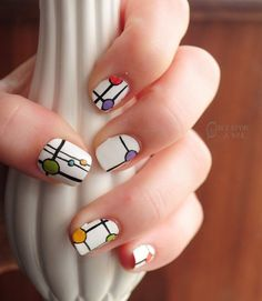modrian inspired - 70 Cool Nail Designs
