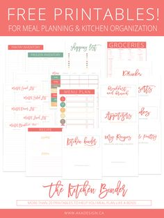 Free Printables for Meal Planning and Kitchen Organization