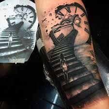 Resultado de imagem para stairs to clock tattoo