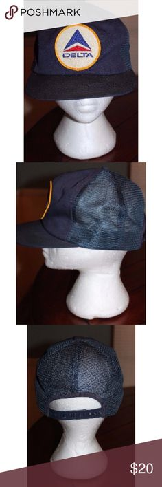 Vtg Navy Adult Baseball Ball Cap w/ Delta Airlines Vtg Navy Adult Baseball Ball Cap w/ Delta Airlines Patch Snapback Trucker Cap  This hat is vintage and has a crease in the bill.  Non-Smoking Home Non-Pet Home Please message us with any questions Delta Airlines Accessories Hats