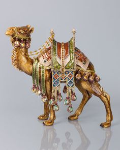 Alexander Grand Camel Figurine by Jay Strongwater at Horchow. I just love camels Jay Strongwater, Home Decor Online, Objet D'art, Metal Casting, Unique Home Decor, Nativity, Swarovski Crystals, Sculptures, At Least