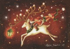 This just screams magic. Christmas Cards, Christmas Ornaments, Merry And Bright, Fairy Tales, Whimsical, Moose Art, Disney Characters, Fictional Characters, Envelope