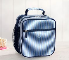Navy Mini Stripe Classic Lunch Bag