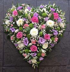 Pinks and Purples Funeral Heart Arrangements Funéraires, Funeral Floral Arrangements, Flower Arrangements Simple, Funeral Bouquet, Funeral Flowers, Floral Bouquets, Floral Wreath, Funeral Sprays, Grave Decorations