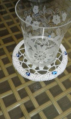Lace crochet glass coaster set with evil eyes by NORTHsKNITTING