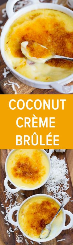 Coconut Crème Brûlée is so easy to make and tastes like paradise! Nix the granulated sugar for a sugar substitute to make it paleo/keto friendly. Desserts Keto, Just Desserts, Delicious Desserts, Dessert Recipes, Yummy Food, Dessert Ideas, Filipino Desserts, Plated Desserts, Bolos Low Carb