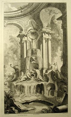 """Tombstone:  Print, """"Fountain Design, from """"Livre nouveau de douze morceaux de fantaisie"""""""", ca. 1733.  Jacques de Lajoüe .ca. 1733. Etching, engraving on white laid paper  Smithsonian, Cooper-Hewitt, Nationational Design Museum"""