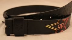 Fox Racing and Rockstar Energy Drink collaboration black faux leather belt.