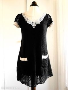 Black crochet dress with cream lace collar