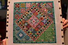 I loved stitching this geometric design.  Needlepoint-my passion!!!