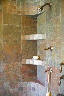 curved custom tile shower shelf Tuscan Bathroom, Bathroom Spa, Bathroom Ideas, Shower Ideas, Tile Shower Shelf, Master Bath Shower, Shower Tile Designs, Master Bath Remodel, Upstairs Bathrooms