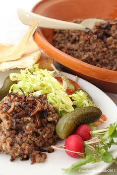 Cook With Attitude: Lebanese Lentil Pilaf - Mujaddara, with Lebanese Cabbage Salad