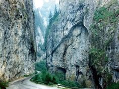 Trigrad Gorge is a canyon of vertical marble rocks in the Rhodope Mountains of Bulgaria's very southern parts.The gorge encloses the course of the Trigrad River that plunges into the Devil's Throat cave and 530 m further comes out as a large karst spring.