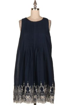 PIN TUCK DETAILS DRESS W/ EMBROIDERED DETAILS.  #4B-22782D