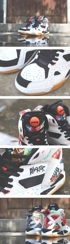 Back in May, we got a first look at this colorful edition of the Reebok Pump Blacktop Battleground. Now, we can report that the sneaker has started to rele Basket Sneakers, Pump Sneakers, Retro Sneakers, Hot Shoes, Men's Shoes, Zapatillas Jordan Retro, Streetwear, Baskets, Oldschool