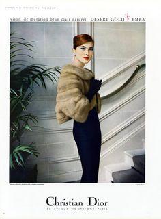 CHRISTIAN DIOR Fur Stole, photo by Virginia Thoren, 1957