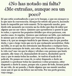 Que no as notado mi falta? Spanish quote
