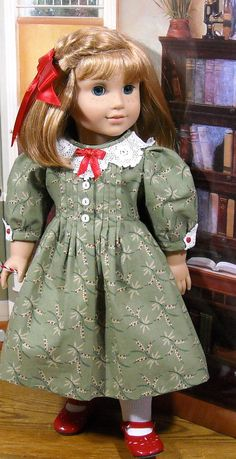 dee3a6ddb2 Holiday Green Pleated Dress with Lacy Collar for 18 inch Dolls American  Girl Doll Costumes