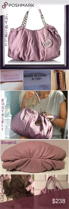 """Michael Kors Erin Handbag in Wisteria Michael Kors Erin Handbag in Wisteria purple  MSRP: $398 + Tax New ~ Price Tag removed but plastic tag is still attached (Gift) This soft textured bag is crafted into such a delicate perfection thanks to the buttery Genuine Leather. Designed in the most stylish and fashionable way Detailed with chain & leather 8"""" double handles  Detachable shoulder strap Magnetic Snap Closure Large Hanging MK logo Polished Silver Hardware  Lined interior with 4 open 1…"""