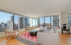 This Lakeview condo for rent has lake and city views galore #chicago #apartments #lakeview