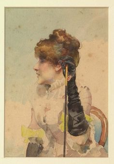 Henri Somm, French, b. 1810 'Portrait of Sarah Bernhardt', 19th century. Watercolor on paper.