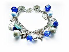 Charms Bracelet Sapphire Birthstones September Birthday Gift by MadeByJoLis on Etsy