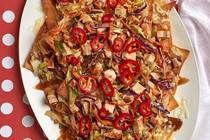 Add a new nacho recipe to your collection, and make these flavorful Asian Nachos for your next party. Topped with coleslaw, grilled chicken breast and toasted sesame seed dressing, these Asian Nachos are sure to wow and amaze! Baked Ziti With Chicken, Grilled Chicken, Group Meals, Family Meals, Family Recipes, Sesame Seed Dressing, Home Recipes, Cooking Recipes, Cabbage Slaw