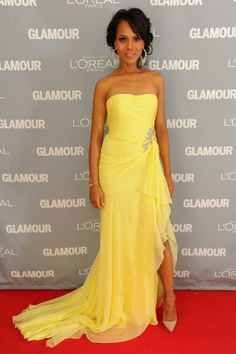 Kerry Washington Yellow Strapless Dress Glamour's 2011 Women of the Year Awards Red Carpet Chiffon Evening Dresses, Chiffon Gown, Evening Gowns, Strapless Dress Formal, Glamour, Beautiful Dresses, Nice Dresses, Olivia Pope Style, Yellow Gown