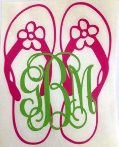 I want Red Flip Flops with Black Letters!! Flip Flops with Monograms Vinyl Decal Car decal by PreppyGram.