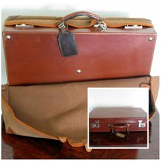 French Leather Vintage Suitcase with Original Protective Cover and Working Locks with KEYS - Travel in Style!