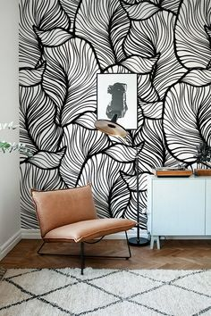 Monochrome Leaf Wallpaper Exotic leaves Wallpaper Baroque style Wall Mural Home Décor Easy install Wall Decal Removable Wallpaper