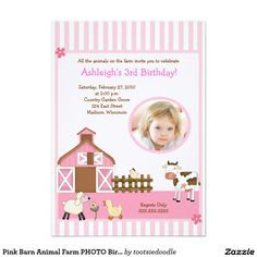 "Pink Barn Animal Farm PHOTO Birthday Invitations 5"" X 7"" Invitation Card | barnyard"