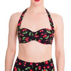 Cherry Pop bikini top met kersen print zwart - Vintage, 50's, Rockabilly