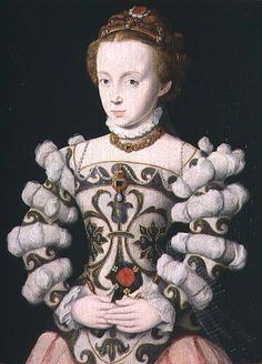 Corneille de Lyon - Portrait of a girl holding a rose (panel) Look at that sleeve detail!