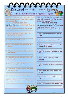 Reported speech step by step * Step 5 * commands, requests, suggestions in the present and past * with key - English ESL Worksheets for distance learning and physical classrooms English Speaking Practice, Teaching English, English Teachers, English Lessons, Learn English, Direct And Indirect Speech, Reported Speech, English Grammar Worksheets, Teaching Jobs