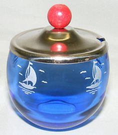 "Hazel Atlas Cobalt Blue ""Sailboat"" ""Ships"" Mustard Pot Sportsman Series"