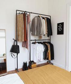clothing rack Find the best modern wardrobe design ideas here. Diy Wardrobe, Built In Wardrobe, Modern Wardrobe, Wardrobe Rack, Room Ideas Bedroom, Diy Bedroom Decor, Home Decor, Aesthetic Room Decor, Room Inspiration