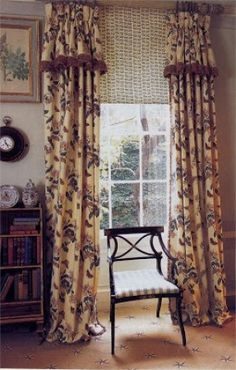 I like these window treatments with the attached valance &